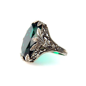 Belle Epoque Sterling Simulated Emerald Statement Ring