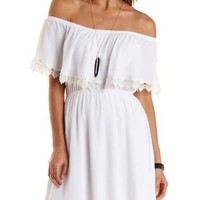 Crochet-Trim Off-the-Shoulder Flounce Dress