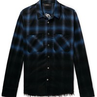 Blue and Black Distressed Fade Flannel by Amiri