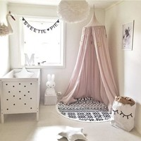 Nordic Style Cotton Linen Baby Mosquito Net Hanging Dome Bed Curtain For Living Room Home Sofa Tent For Baby Kid Bedroom Decor