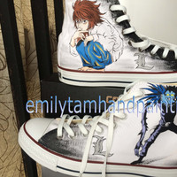 Custom Paint Sneakers Hand Painting Death Note Converse Shoes, Ryuuzaki and Ryuuku Canvas Sneakers for Death Note Fans