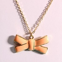 Peach High Polished Metal Tie Ribbon Pendant Necklace