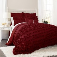 Lush Decor Avery 7pc Red Comforter Set