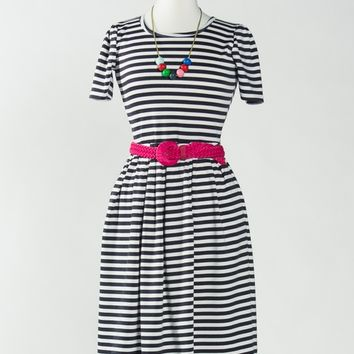 BLACK WHITE STRIPE AMELIA DRESS