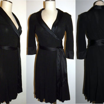 Vintage DVF Wrap Dress, Diane Von Furstenberg, BLack, silk trim, Iconic, Luxe, Classic, LBD, tuxedo  fits XS