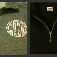1/4 Zip sweatshirt with Lilly Pulitzer fabric round monogram applique in Oxford or Navy.