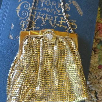 Vintage Gold Mesh Hand Bag w/ Chain Whiting & Davis Art Deco Bag Round Rhinestone Clasp Accent 1930's Evening Bag Formal Prom Wedding Bag