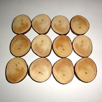 12x Round Shaped Natural wood slices discs Tableware Wedding Party Decoration.Natural Wooden Log Slices Rustic Wedding Table Decor DIY Craft