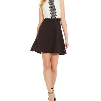 Jessica Simpson Colorblock A-line Lace Dress | Dillards