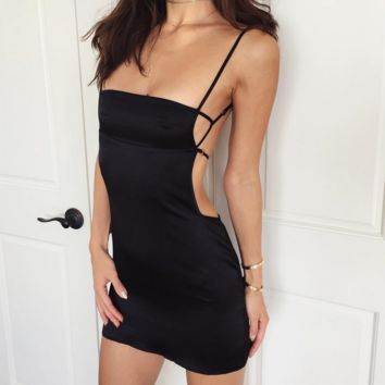 Hot Sale Sexy  Straps Pure color backless dress Black
