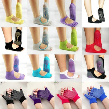 Hot 1 Pair Yoga Toe Ankle Grip Durable Yoga Pilates Socks Or Glove Five Finger No-Slip New [8069647879]
