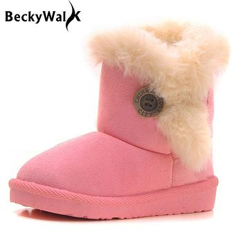 Thick Warm Children Snow Boots Winter Kids Shoes Cotton-Padded Suede Boys Girls Boots Baby Shoes Children Boots Size21-35 CSH252
