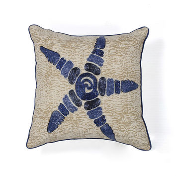 KAS Oriental Rugs PILL10918SQ Blue and Natural Starfish Elegance 18-Inch Decorative Pillow