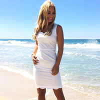 Lady Madonna Scallop Dress In White