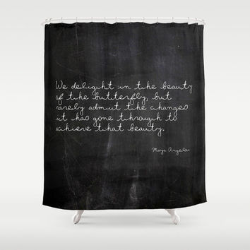 Shower Curtain - Maya Angelou - Butterfly Quote - Nature - Woodland Decor - Rustic Decor - Housewarming GIft - Rustic Shower Curtain