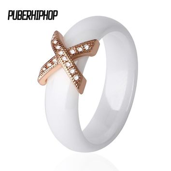 Rose Gold Color Ceramic Rings With Austrian Crystals Fashion anelli X Cross Ring bague Engagement anillos anel Rings for Women