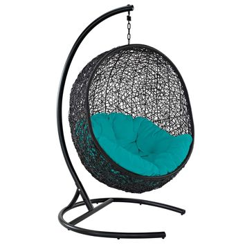 Encase Swing Outdoor Patio Lounge Chair Turquoise EEI-739-TRQ-SET