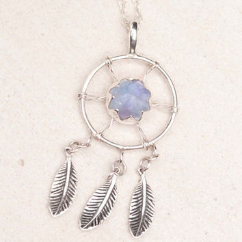 Dreamcatcher necklace with Sterling Feathers