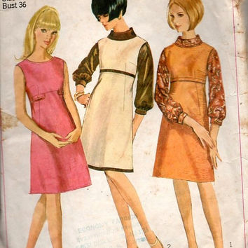 Simplicity 6643 Sewing Pattern 60s Mod Retro Style Mad Men Fashion Dress A-line Empire Waist Colorblock Jumper Blouson Sleeve Blouse Bust 36