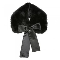 'Cally' Black Faux Fur Collar