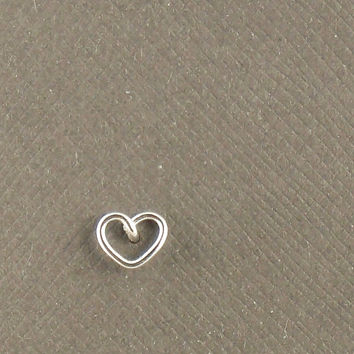 Tiny Sterling Silver Heart Cartilage Stud Earring 925 Sterling Silver Jewellery, One Stud