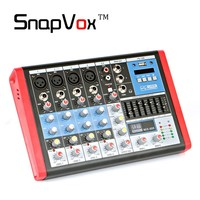 Professional 6 Channels Audio Mixer Console Mixing Sound Equipment Amplifier Equalizer DJ Stage Line In Out 48 V Phantom Power