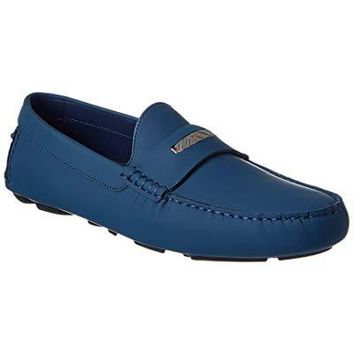 BURBERRY Engraved Check Detail Leather Loafer, 42, Blue