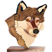 Handcrafted Wooden Wolf Head Figure