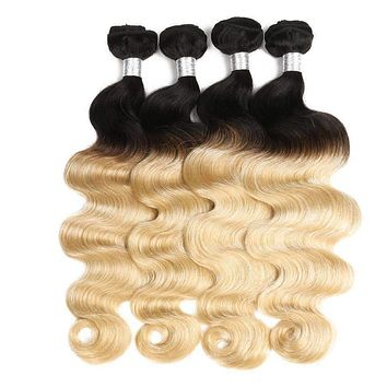 Pre-colored 4 Bundles Ombre Indian Hair Body Wave Blonde T1B 613