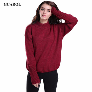 GCAROL Women Standard Collar Basic Sweater Stretch Preppy Style Knitting Pullover Spring Autumn Winter Thick Jumper 5 Colors