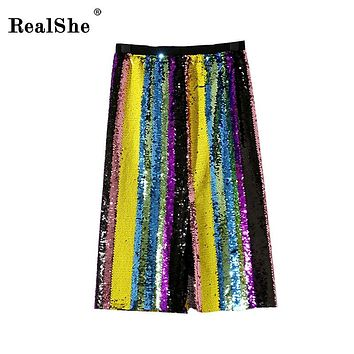 RealShe 2018 Women Autumn Midi Skirt Womens High Elastic Waist Skirts Elegant Sequines Multicolor Skirt Femininas Faldas Mujer