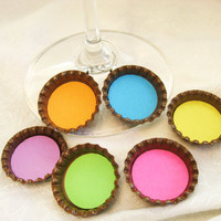 Neon Pop Color wine charms - bright colored Bottle Cap Wine Charm with polka dot back- set of 6