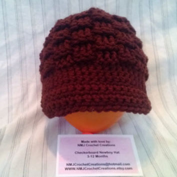 Ready to ship,  3-12 Months, Checkerboard Newsboy Hat, Crochet Hat, Crochet Hat with Brim