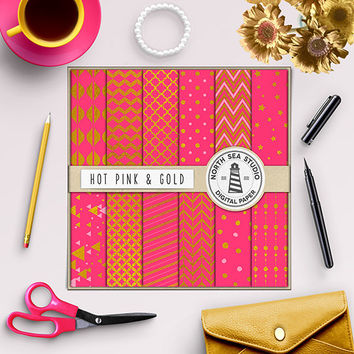 Hot Pink And Gold Foil Digital Paper Golden Patterns Pink Paper Scrapbook Kit Gold Foil Backdrop Sweet Girly Paper Commercial Use 12x12 In