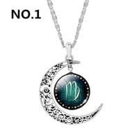 Zodiac Pendant Necklaces For Women Cabochon Glass Neklaces silver Plated Moon Pendant Necklaces Statement Necklaces Jewelry -03327