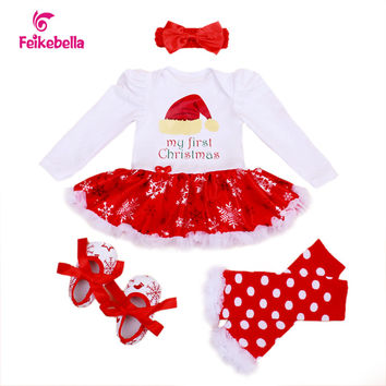 2016 Hot Sale Christmas Cotton White Long Sleeve Girl Rompers Dress Baby Girls Clothes Sets 4pcs Newborn Jumpsuit Infant Clothes