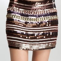 bebe Embellished Mini Skirt Related Multi-l