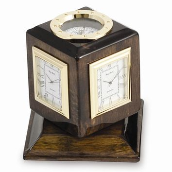 Three Time Zone Walnut Wood Revolving Desk Clock Compass - Engravable Gift Item