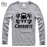 Crossfit Skull Fitness T-Shirts Men's Long sleeve Cotton Round Collar Tee shirts Men Bodybuilding Casual T shirts