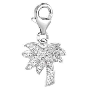 Sterling Silver & Crystal clip-on palm tree charm