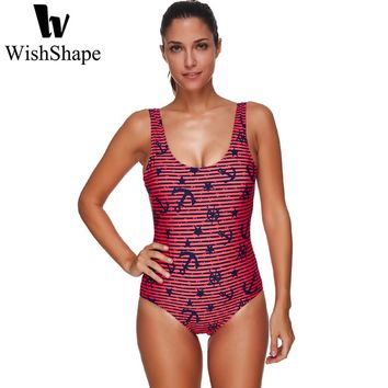 Sexy One Piece Swimsuit Stripes Monokini Backless Swimwear Anchor Print Bathing Suits Push Up Swimming Suit Beach Wear Bodysuit