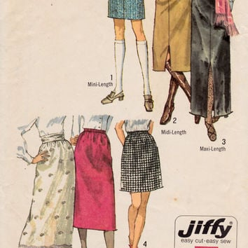 """SALE 1970s Misses' Pencil Skirts in Three Lengths Mini Skirt Simplicity 9099 Womens Vintage Sewing Pattern Waist 25.5"""""""