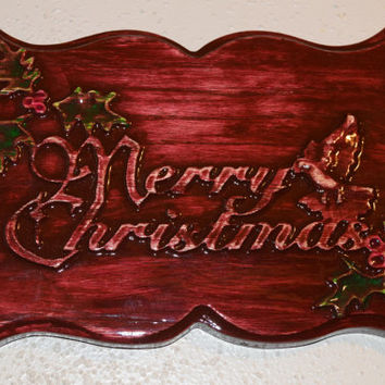 Merry Christmas Wood Wall Art Christmas Hand Carved Hand Painted Stained Wall Hanging Plaque Unique Wood Gifts Handmade in USA - Texas
