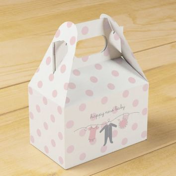 Welcome Baby P&G- Happy New Baby Gable Box White Favor Box