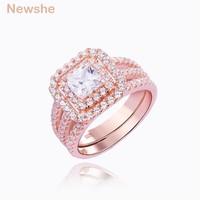 Newshe Rose Gold Color Wedding Ring Set 925 Sterling Silver Engagement Band Princess Cut CZ Fashion Jewelry For Women