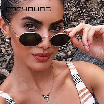 COOYOUNG Small Oval Sunglasses Women Men Vintage Brand Designer Sun Glasses Metal Frame UV400 gafas de sol