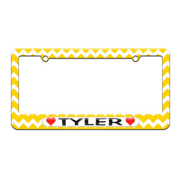 Tyler Love with Hearts - License Plate Tag Frame - Yellow Chevrons Design