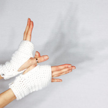 Snow White Fingerless Gloves w/ Iridescent Glitter Thread - Crocheted Handwarmers, Sparkle Buttons On Wrist - Made With Vegan Acrylic Yarn