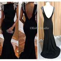 Customized 2017 Fancy Lady Formal Dress Real Evening Dress Black Spandex Mermaid Party Gown Sequin Beaded Backless Prom Dresses