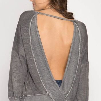 Open Back Pigment Washed Top - Charcoal